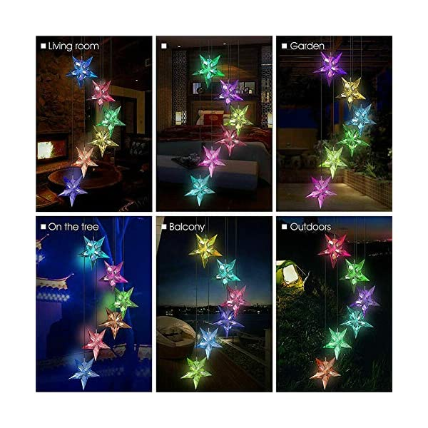 Yooda Color Changing Wind Chime Solar Powered Hummingbird Wind Chime Lights Wind Mobile Portable Waterproof Outdoor Decorative Wind Bell Light for Home Party Night Garden Decoration 1