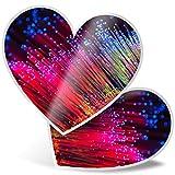 Impresionante pegatinas de corazón de 7,5 cm – Pegatinas divertidas de fibra óptica para portátiles, tabletas, equipaje, libros de chatarras, neveras, regalo genial #12637