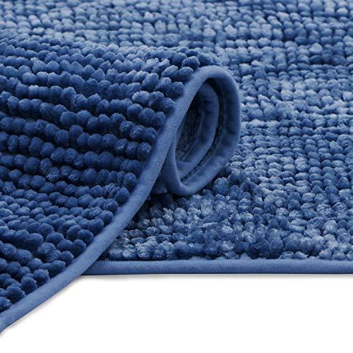 AmeliaHome Bati Tapis de Bain, Polyester, Bleu foncé, 70 x 120 cm