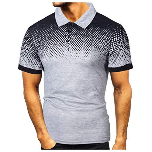 Yowablo Herren Poloshirt Polohemd Shirt Basic Polo Mode Persönlichkeit Casual Slim Kurzarm Bedruckte T-Shirt Top Bluse (XL,2Grau)