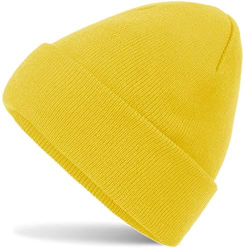 Hatsatar Unisex warme Beanie Strickmütze   Wintermütze für Damen & Herren   Feinstrick Mütze doppelt gestrickt   warm & weich (Yellow)
