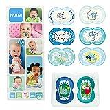 MAM Day & Night Soothing Set, ensemble sucettes dès 6 mois, cadeau pour bébé avec 2x4 sucettes Original silicone 6+ et 18+ mois...
