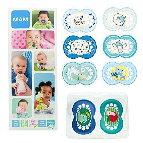 MAM Day & Night Soothing Set, ensemble sucettes dès 6 mois, cadeau pour bébé avec 2x4 sucettes Original silicone 6+ et 16+ mois (2 pour le jour & pour la nuit), garçon