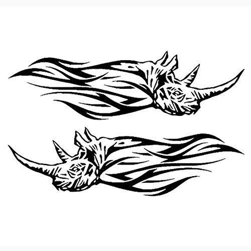 A/X 2x Tribal Rhino Flames Vinyl Car Decals A Pair of Cool Cute Stickers-White