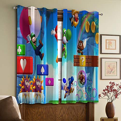 Super Mario Bros - Cortinas decorativas para dormitorio, cuarto de bebé, sala de estar (72 x 72 cm)