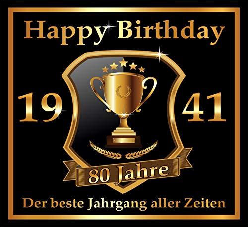 3 St. Aufkleber zum 80. Geburtstag: 1941 der beste Jahrgang aller Zeiten - Selbstklebendes Flaschen-Etikett. Original RAHMENLOS Design