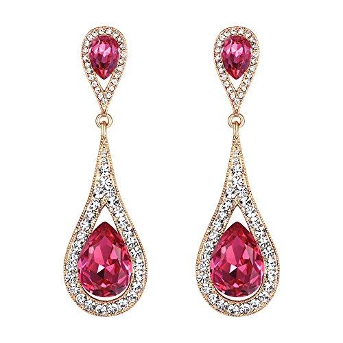 EVER FAITH Pendientes Mujer 2 Lágrimas Agua gota Cristal Colgantes Aretes Elegante Retro Rosado Tono Dorado