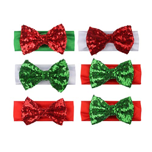 Lurrose 6 stuks glitter pailletten boog haarband turban knopen hoofdband voor kerstfeest