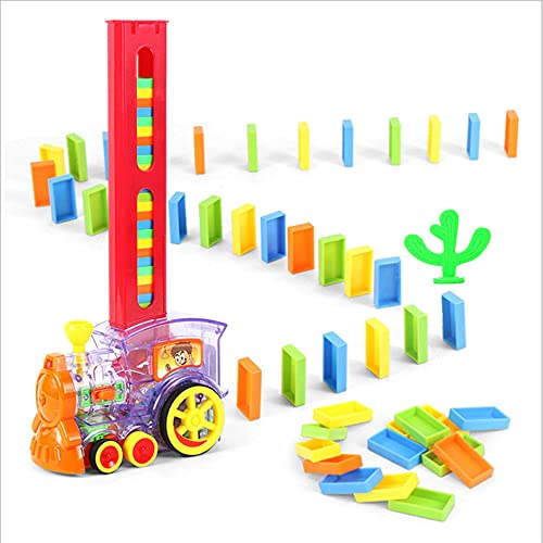 TAIYANYU Domino Toy Train Set,Automatic Domino Rally Train Model with Light, Kids Domino Blocks Building Stacking Toy with Lights and Sounds