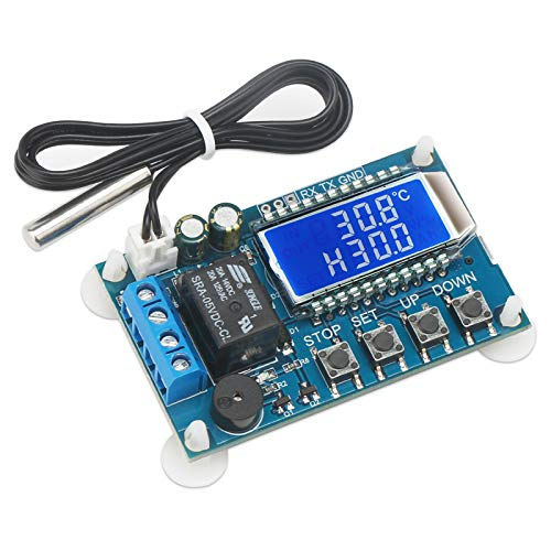 Electronic Thermostat Controller, DROK DC 6-30V 24V Digital Temperature Control Board -50 to +110 Degree Celsius High Accuracy LCD Digital Micro Temp Control Switch Module with Waterproof Sensor Probe