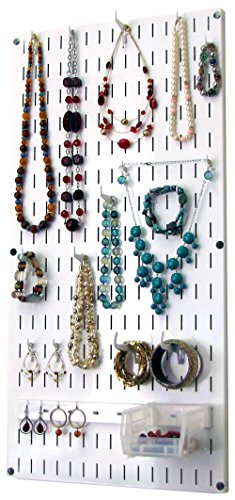 Wall Control Jewelry Organizer Wall Hanging Jewelry Holder Kit Wall Mounted Jewelry Organizer Kit in White