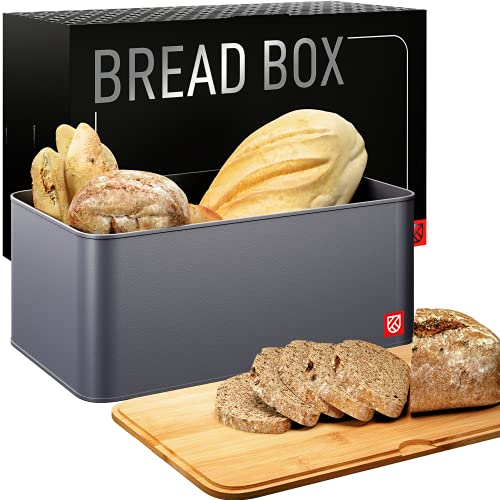 Bread Box with Bamboo Lid - Kensington London Countertop Metal Bread Bin Set with Wooden Chopping Board Top - Cut, Serve, Store and Keep Bread Fresher For Longer