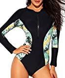 Women UV Sun Protection Long Sleeve Rash Guard Wetsuit Swimsuit One Piece Floral Printed Swimwear