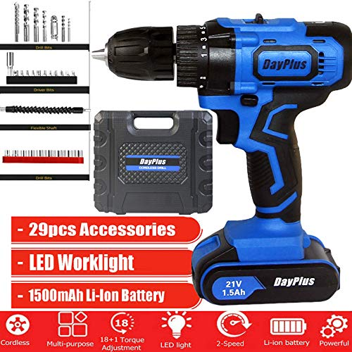 Cordless Drill 21V Power Drill Built in Hammer and Magnet, 45N.m, 1500mAh Batteries, Fast Charger, 3/8 inch Chuck, 2 Variable Speed, 18+1Torque Setting, with 29pcs Drill Set