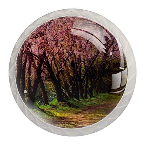 Perillas de armario de cocina, perillas decorativas redondas, cajones de armario, tirador de tocador, 4 Uds., Bloosom de cerezo japonés de bosque