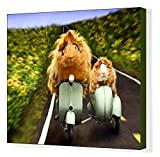 20x16 Canvas Print of Guinea Pigs Riding a Motor Scooter and Side Car (19988407)