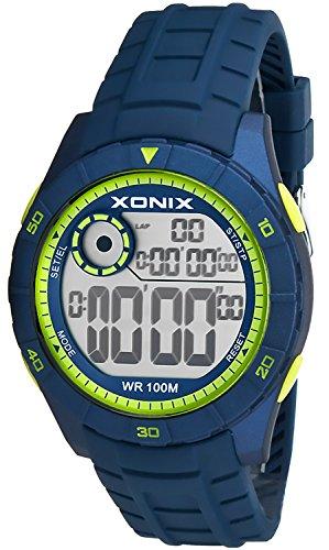 Digitale Sportliche XONIX Armbanduhr Stoppuhr mit 100 Zwischenzeiten WR100m Herren