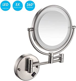 Makeup Mirror Bathroom Shaving Mirror Wall Mounted, LED Lighted 5X Magnification, Adjustable and Extendable Double Sided Mirror Light, Available in 6 Color Options,Black (Color : Nickelwiredrawing)