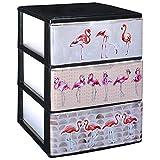 COM-FORT HOUSE Cajonera Apilable Plastico - Modelo Iris - Modelo de 3 Cajones con Decorado Flamencos (380 x370 x473 mm)