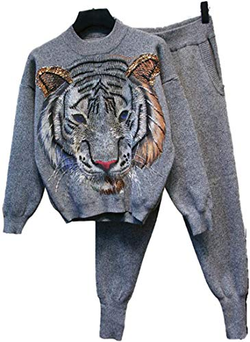 Autumn Women's Tiger Head Beads Knitted Sweater Casual Pants 2 Pieces Knit Set Lady Tracksuit