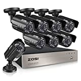 ZOSI 8-Channel HD-TVI 720P 1080N Video Security DVR Surveillance Camera Kit 8 x 1280TVL Indoor Outdoor IR Weatherproof Cameras 65feet 20m Night Vision with IR Cut NO Hard Drive (Renewed)