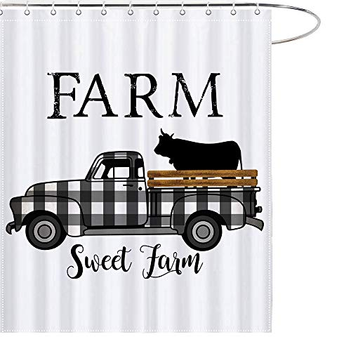 MAEZAP Farm Sweet Farm Farmhouse Fall Cow Shower Curtain...