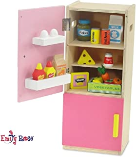 Emily Rose 18 inch Doll Furniture | Brightly Colored Wooden Refrigerator with Freezer, Includes 20 Colorful Wooden Pretend Food Accessories | Fits American Girl Dolls