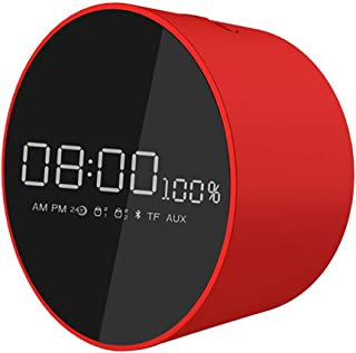 GLJJQMY Wireless Bluetooth Speaker Home Office Mirror Card Portable Alarm Clock Small Sound, 10.8×10.8×6.2 (Color : Red)