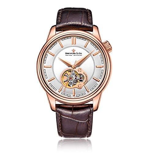 Dreyfuss & Co Herren Skeleton Automatik Uhr mit Leder Armband DGS00093/02