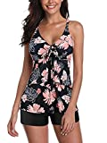 Tankini Swimsuits for Women Two Piece Floral Tankini Tops with Shorts Tummy Control Bathing Suits Swimming Suit for Womens A Pink Print 8-10