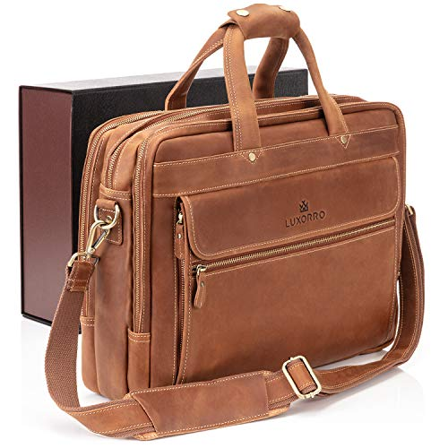 Luxorro Leather Briefcases for Men | Soft, Full-Grain Leather Laptop Bags for Men W/Hand Stitching That Lasts A Lifetime | Spacious But Compact | Fits 15-inch Laptops, Light Brown
