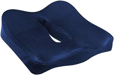 クッション 低反発 三次元 3Dデザイン 椅子 座布団 オフィス 車シート お尻が痛くなりにくい3Dデザイン 通気性もあり蒸れにくい カバーが洗えて清潔 約40x40x11cm (ネイビー)