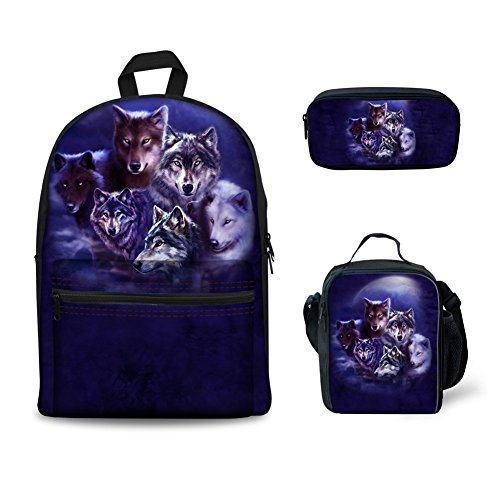 ORGYPET Childern School Bag Bookbag Lunch Box Pencil Bags Boys Girls Teens Backpack Sets 3 Pc Wolf Pack Printed Best Gift for Children