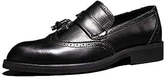 Leather Oxfords for Men Dress Shoes Stitch Microfiber Leather Solid Anti-slip Brogue Wingtip Tassel Fashion Trends shoes (Color : Black, Size : 38 EU)