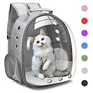 Henkelion Cat Backpack Carrier Bubble Carrying Bag, Small Dog Backpack Carrier for Small Medium Dogs Cats, Space Capsule Pet Carrier Dog Hiking Backpack, Airline Approved Travel Carrier – Grey
