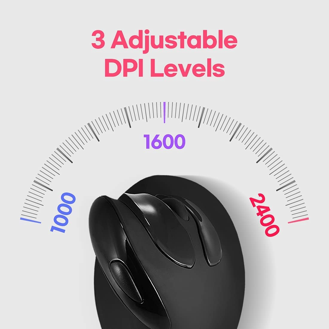 Actto Wireless Vertical Ergonomic Optical Mouse Optical Vertical Mice, 3 Adjustable DPI 1000/1600/2400, Pixart 3212 Sensor, Levels 6 Buttons, for Laptop, PC, Computer, Desktop, Notebook etc Black