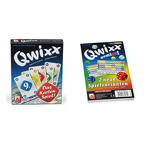 NSV - 4027 - QWIXX Das Kartenspiel - Kartenspiel & 4033 - QWIXX GEMIXXT - Zusatzblöcke 2-er Set - Würfelspiel