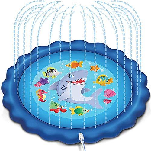 YUYON Aufblasbarer Spritzbrett-Sprinkler, Spielfeld Für Gartenbrunnen, Geeignet Für Mädchen Und Jungen Von 1 Bis 12 Jahren (68 Zoll),Blue