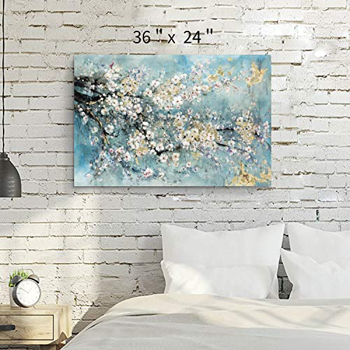 Abstract Flower Canvas Wall Art: Dogwood Painting Artwork Picture for Living Room (36'' x 24'' x 1 Panel)