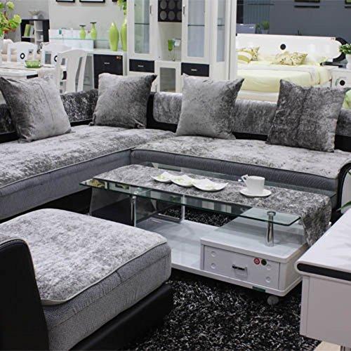 TY&WJ Plüsch Anti-rutsch Sofabezug Wohnzimmer Sofabezug Outdoor Couch-abdeckungen Möbel Protector Für ledersofa Haustier Hund & Kinder-Grau 60x210cm(24x83inch)