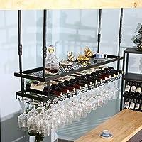 LYLSXY ワインラックは、キッチンの産業アイアンアートワインはアップサイドダウンワイン2 - ティアラック整理ワイングラスホルダー80分の60/100/120センチメートルをぶら下げ脚付きグラスストレージレストランラック,100x30cm,100x30cm