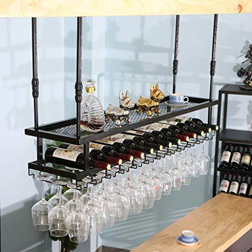 TTWUJIN Estante para Vinos, Bar, Restaurante, Estante para Copas de Vino, Arte Industrial en Hierro para el Hogar, 2 Niveles, Alenamiento de Copas Al Revés, Restaurantes, Soporte Colgante,el 1