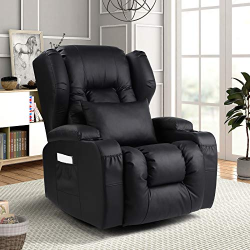 IPKIG Swivel Rocker Recliner Chair- Ergonomic Glider Chair Rocking Swivel Reclining Sofa for Nursery, PU Leather Lounge with Lumbar Pillow, Cup Holder, Side & Front Pockets for Living Room(Black)