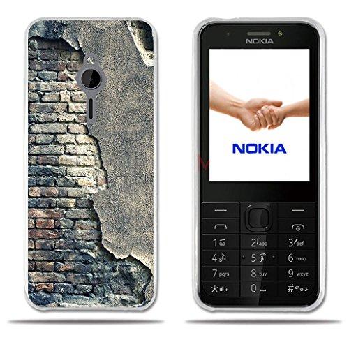 FUBAODA für Nokia 230 Hülle, [Broken Wall] Transparente Clear Creative 3D Easy Grip Durable Flex Vintage Retro Style Anti-Scratch Smart TPU Beschützer für Nokia 230