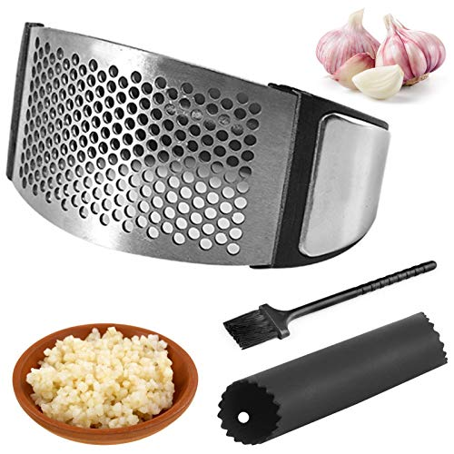 Stainless Steel Garlic Press/Garlic Mincer Crusher and Peeler/Garlic Press Rocker/Ginger Press Squeezer with Silicone Garlic Peeler + Clean Brush, Kitchen Gadget, Easy to Use & Clean(2021 Upgrade)