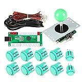 EG STARTS 1 jugador Arcade DIY Kit Codificador USB a PC Arcade Joystick Botones para USB MAME Juego de PC DIY y Raspberry Pi Retro Controller Parts (Verde)