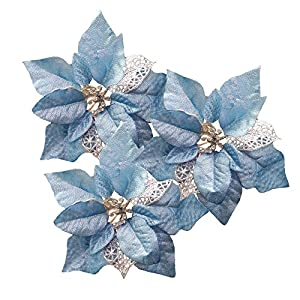 Festivous Wishel Pack of 12 Glitter Artificial Wedding Christmas Flowers Glitter Poinsettia Christmas Tree Ornaments (Blue)