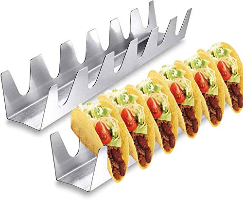 2Pcs Taco Holder 304 Stainless Steel Taco Stand Taco Rack for Oven Soft Or Hard Tacos Baking Taco Truck Wave Shaped,Home Outdoor Party Restaurants