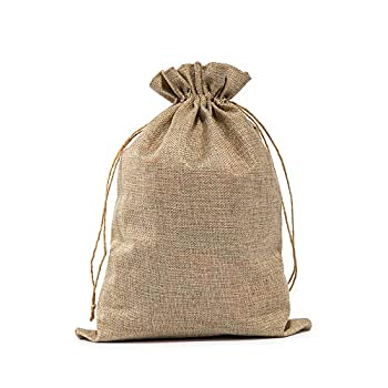 Burlap Bags with Drawstring 10 x14  Burlap Easter Favor Sacks  Lot of 10  for Wrapping Gifts Birthday Wedding Theme Parties or Household Use