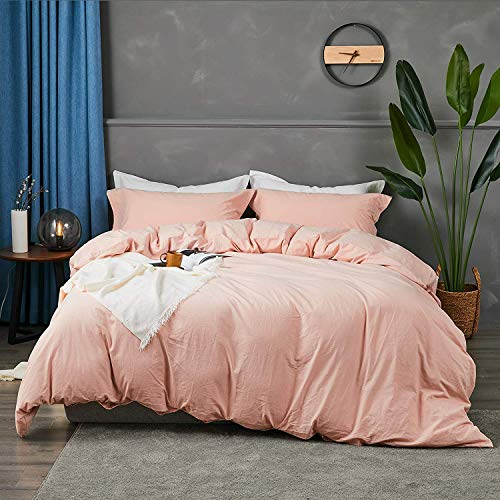 Cozytl bedding Queen Duvet Cover Set Washed Cotton 3 Pieces (1 Duvet Cover + 2 Pillow Shams) Ultra Soft and Easy Care Breathable Bedding Set with Corner Ties, Pink, 90 x 90 Inches